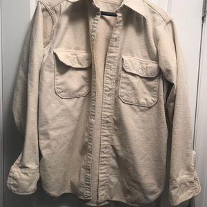 Woolrich creme long sleeved shirt. L/ 100% cotton